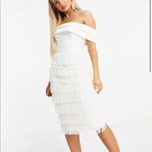 Lavish Alice White Fringe Midi Dress